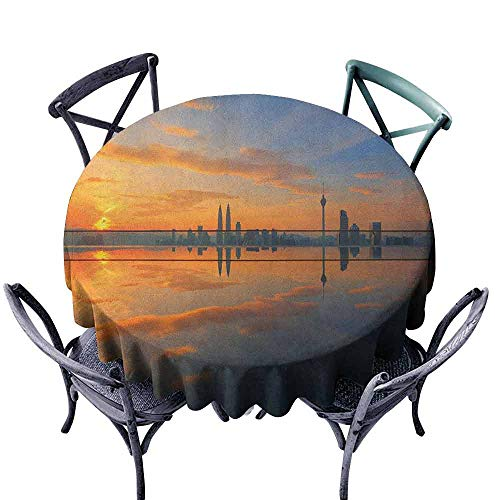 Landscape Elegance Engineered Tablecloth Magical Sunrise at The Pond with Sky View Morning Serene Silent New Day Image Great for Buffet Table D51 Orange Blue