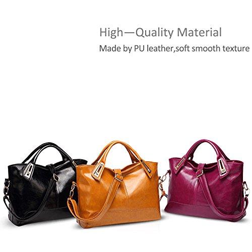 Red Nicole PU Black Women amp;Doris Waterproof Tote Handbag Fashion Shoulder Large Messenger Leather Bag F41Fq