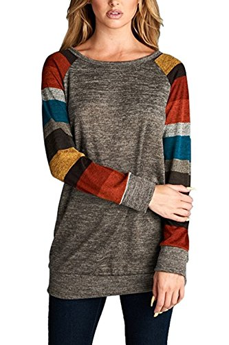Young17 Womens Cotton Knitted Long Sleeve Lightweight Striped Tunic Sweatshirt Tops