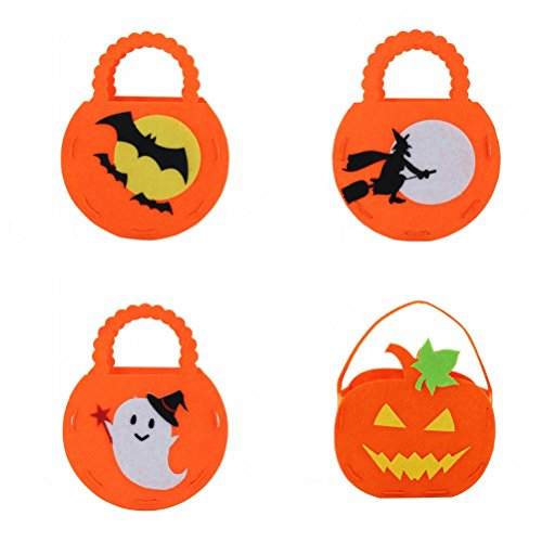 Nasis Orange DIY Toys Trick or Treat Candy Bag for Halloween Party Costumes School Favors Props TOY0007 (4 Pack, (Costume Ideas For Halloween Diy)