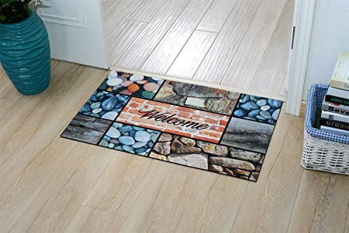 Bella Happy House 1002 Printed with Welcome Fashion Rubber Doormat,Entracne home doormat,Outside mat ,Easy cleanable 18 Inch By 30 Inch Blue