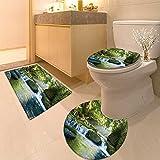 3 Piece Anti-slip mat set Foliage Jungle Misty Mountains and Mossy Rocks Vie Print Fabric Set with Hooks Long Non Slip Bathroom Rugs