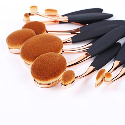 Oval Makeup Brush Set ,10 Pcs Professional Oval Toothbrush Makeup Brushes Concealer Eyeliner Blending Cosmetic Brushes Tool Set