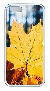 taoyix diy iPhone 5 5S Case Golden Autumn Leaves TPU Custom iPhone 5 5S Case Cover White