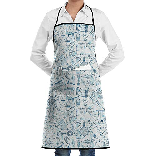 Seuriamin Adult Unisex Kitchen 100% Polyester Bib Apron Doodle Physics Themed Drawing A Collection of Formulas Related to The Field Doodle Art Decorative Blue Light Blue ()