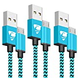 Micro USB Cable Aione Android Charger Cable [2M 3 Pack] Nylon Braided Micro USB Charger Compatible with Samsung Galaxy S6/S7/S4/S3, Sony, LG, HTC, Nexus, Kindle, PS4 and More(Blue)