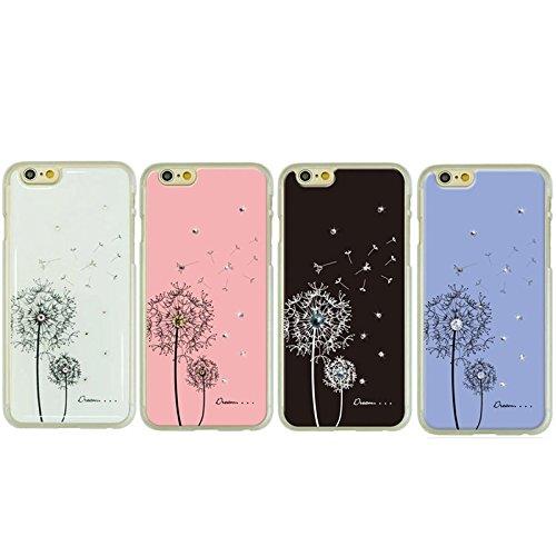 Mxnet Dandelion Pattern Diamond-verkrustet Hard Case für iPhone 6 & 6S rutschsicher Telefon-Kasten ( Color : White )