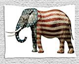 Ambesonne American Tapestry by, Elephant Painted with US Flag Pattern Political Symbol National Love Artful Print, Wall Hanging for Bedroom Living Room Dorm, 60WX40L Inches, Blue Red