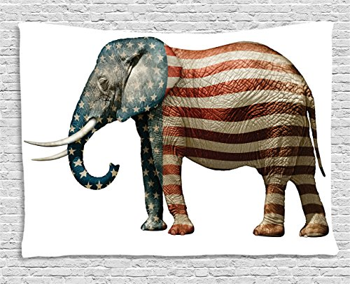 Ambesonne American Tapestry by, Elephant Painted with US Flag Pattern Political Symbol National Love Artful Print, Wall Hanging for Bedroom Living Room Dorm, 60WX40L Inches, Blue Red by Ambesonne