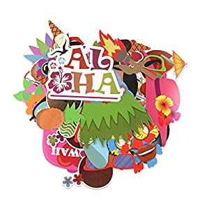 KEIYO Hawaii Party Series Photo Booth Props - Pack of 60 PCS - DIY Card Stock with Hardwood Stick Photo Props for Party Fun Favor