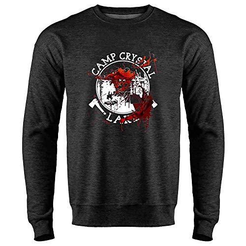 Pop Threads Camp Crystal Lake Counselor Costume Staff Bloody Heather Charcoal Gray M Mens Fleece Crew Sweatshirt ()