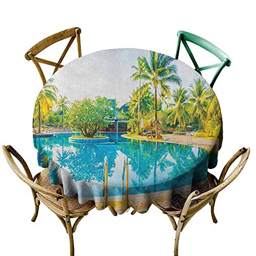 Sunnyhome Round Outdoor Tablecloth Landscape Umbrella and Chair Around The Round Pool Tourist Space Famous Spots Concept Green Blue Cream Stain Resistant, Washable 55 INCH ()
