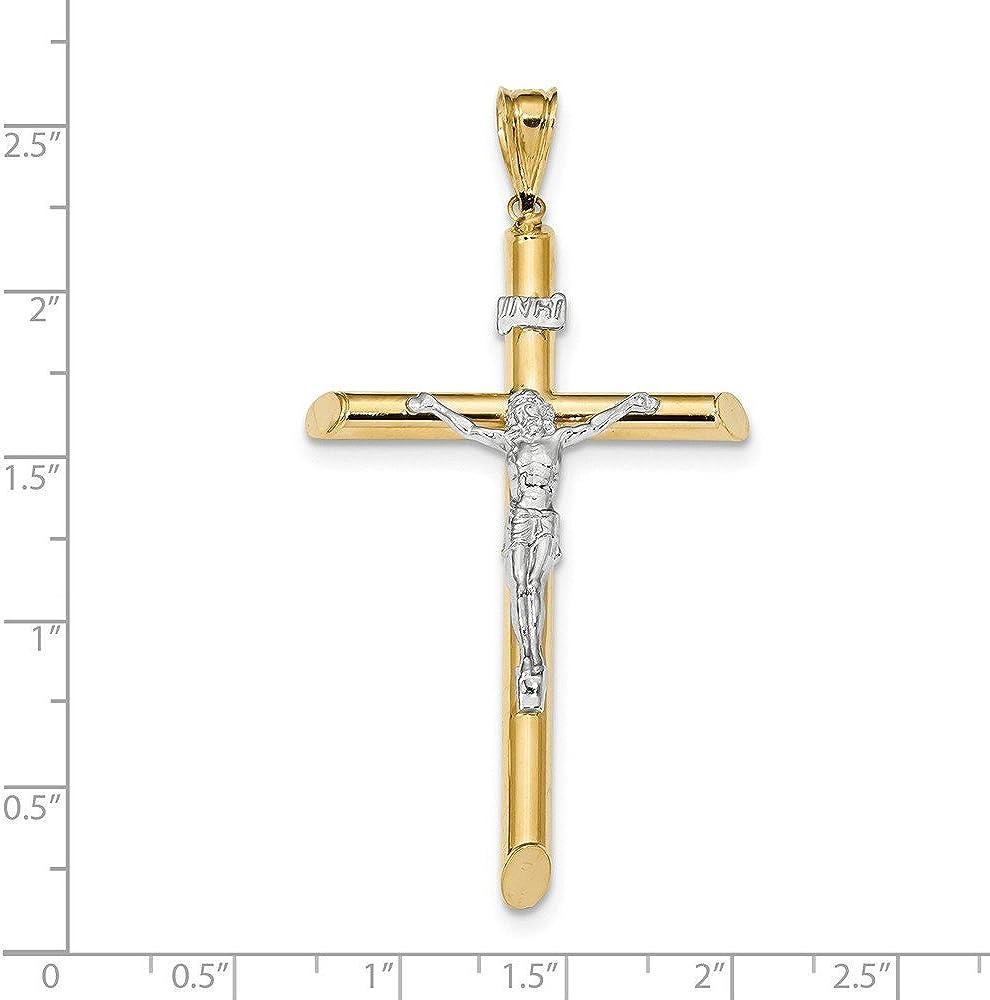 14K Two Tone Gold Polished Crucifix Cross Pendant