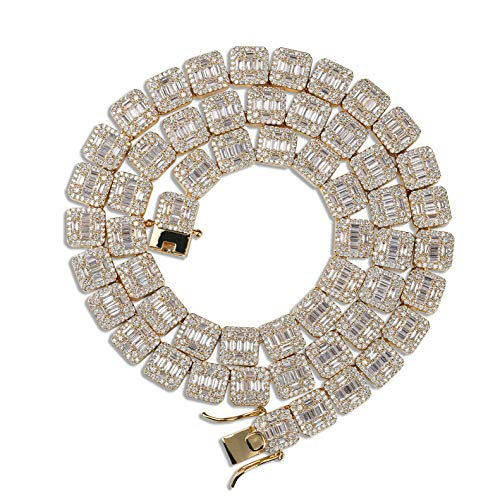 JINAO 18k Gold Plated Square Halo Necklace with Sparkling Baguette Cut Cubic Zirconia Center Stone Jumbo Lab Simulated Diamond Iced Out Chain (Gold, 18)