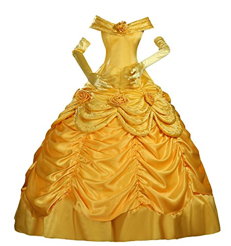 [Cosrea Cosplay Beauty And Beast Princess Belle Disney Park Classic Satin Cosplay Costume Custom Sizing] (Beauty And The Beast Costume Belle)