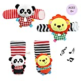 Daisy 4 Animal Baby Wrist Rattle and Foot Finder Socks Set Development Toys Gift for Infant Boy Girl - Lion and Panda