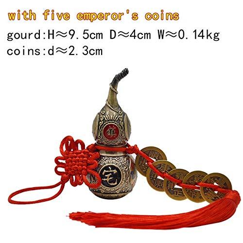 ZAMTAC Chinese Feng Shui Retro Color Wu Lou Hu Lu Miniaturas Copper Alloy Gourd Amulet Home Decoration Accessories Vintage M - (Color: RetroColorGourdM5Cio)