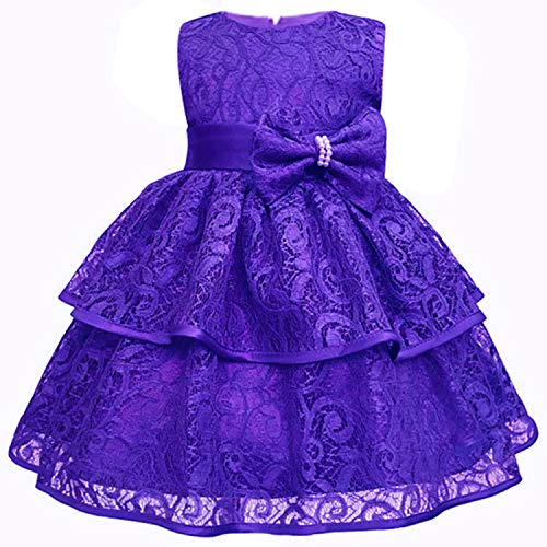 Baby Girls Dress 0-24 Month Baby Lace Baptism Princess Sleeveless Baby Girls 1St Year Birthday Dress Birthday Party Vestido Purple 12M