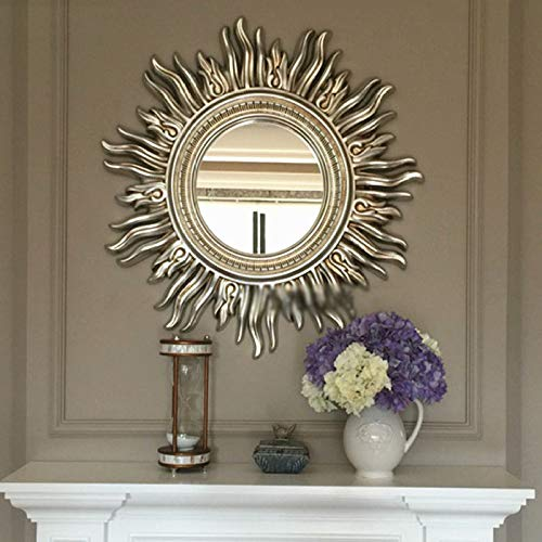 zenggp Wall Sun Decor Sunburst Mirror Beautiful Nice Gift Painted Carved Round Sun Brown-Handmade Wall Decor,Silver-24in (Sunburst Bamboo Mirror)