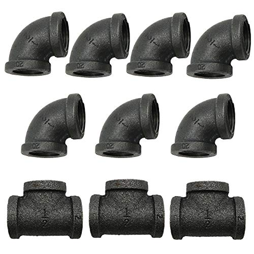 Black Cast Pipe Fitting, Elbow 90 + Tee, 10-Pack (1/2'') ()