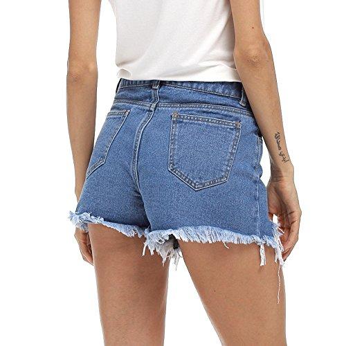 Dchirure avec Jeans Jeans FuweiEncore Pantalon Skinny Jeans Jeans Femme d't Skinny Zippe Jeans Bleu qwq7p1Z