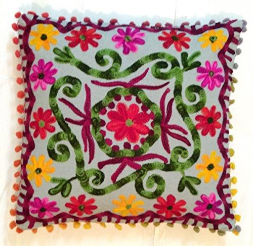 Traditional Jaipur Suzani Cushion Cover 16x16, Decorative Throw Pillowcase, Indian Outdoor Cushions, Boho Pom Pom Pillow Shams