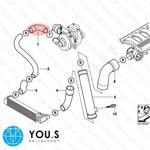 YOU.S Original 11612248622 Ladeluftschlauch Innendurchmesser ca 52mm 47