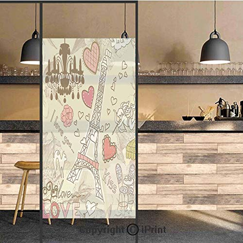 Lake Traditional Chandelier - 3D Decorative Privacy Window Films,Doodles Illustration of Eiffel Tower Hearts Chandelier Flower Love Themed Vintage Artwork,No-Glue Self Static Cling Glass film for Home Bedroom Bathroom Kitchen Offi