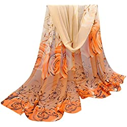 Perman Fashion Women Beautiful Rose Pattern Chiffon Shawl Wrap Stole Scarf Scarves (Yellow)