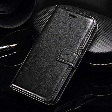 f8821dd1d1 Thinkzy Artificial Leather Flip Cover Case for Samsung Galaxy J6 (Black)   Amazon.in  Electronics
