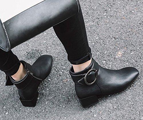 Aisun Kvinna Mode Bucklig Rem Fyrkantig Tå Inuti Zip Upp Lågt Staplade Häl Kort Boots Svart