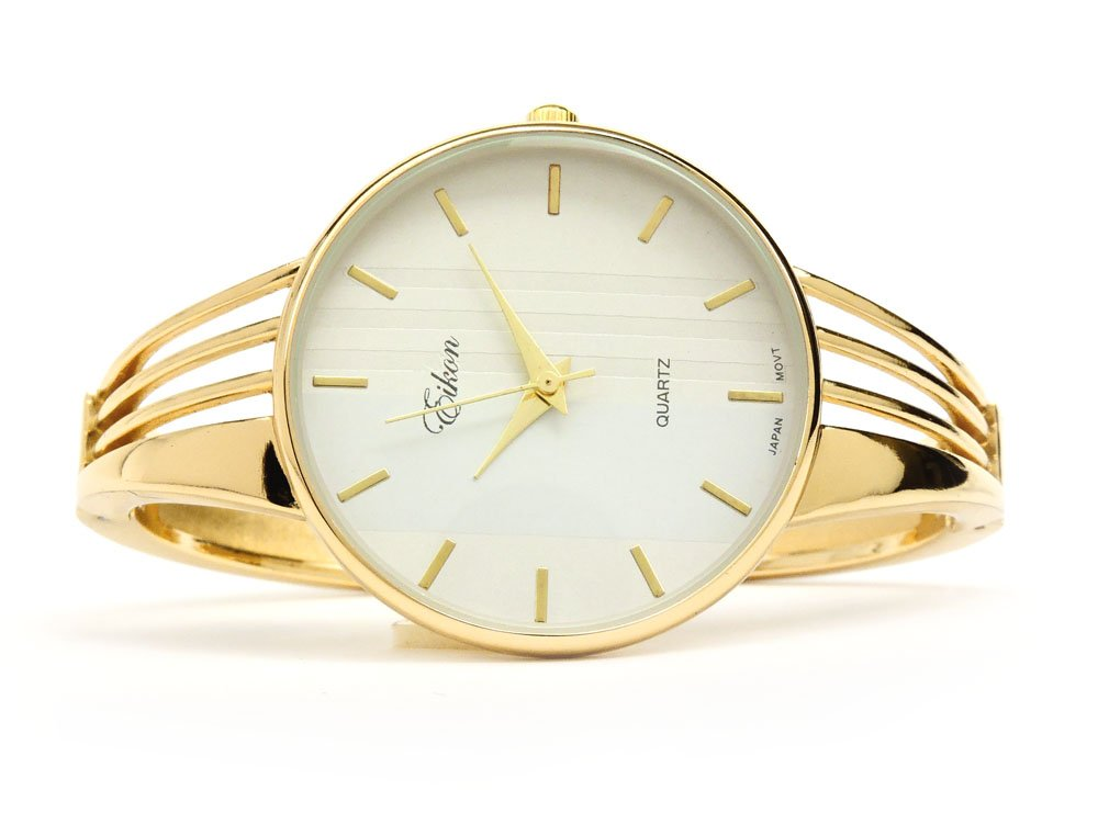 Gold Tone String Style Band Luxury Women's Bangle Cuff Watch by FTW (Image #3)