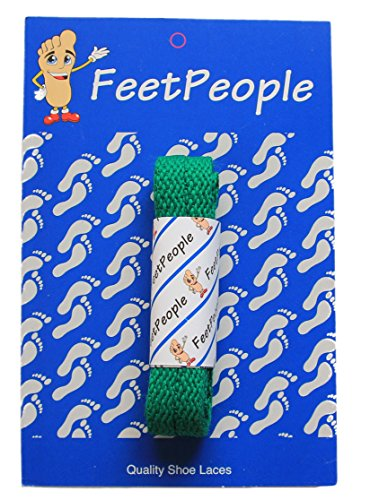 (FeetPeople Flat Laces, 1 Pair, Kelly Green, 72 inches x 1)