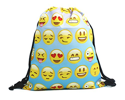 Price comparison product image Emojis Drawstring Backpack Bags with Polyester Material Sport String Sling Bag for Kids Teens - Green