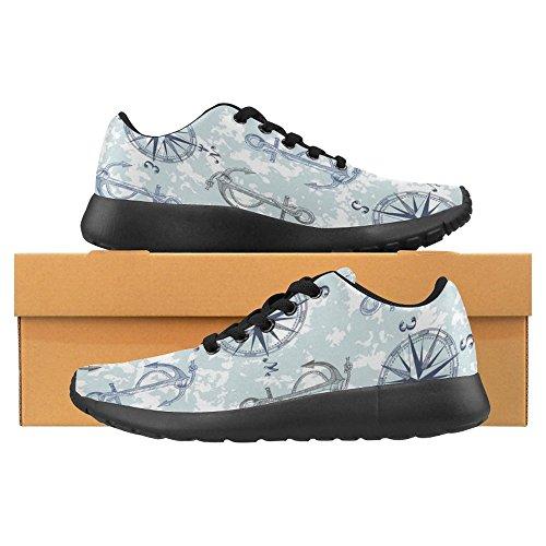 Interestprint Womens Jogging Running Sneaker Leggero Go Easy Walking Casual Comfort Running Scarpe Anchor Bussola Nautica Camouflage Camo Marinaio Marinaio Mare Oceano Marittimo Multi 1