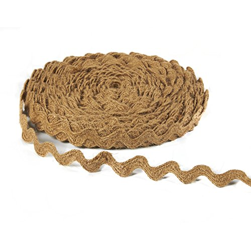 Burlap Ribbon - Natural Jute Ribbon Roll, Burlap Spool Twine Twisted Hemp Rope Strings in Wavy Pattern - DIY Arts Crafts, Rustic Wedding Decorations, Home Decor- Brown, 25-Yard Long, 0.7 inches Wide