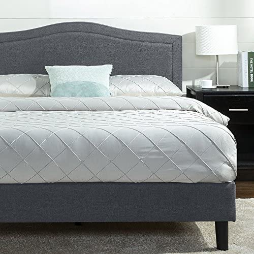 Zinus Anne Upholstered Detail Stitched Scalloped Platform Bed Mattress Foundation Easy Assembly Strong Wood Slat Support, Queen