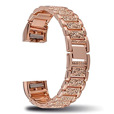 Fitbit Charge 2 Metal Band,Charge2 Adjustable Replacement Bands Bracelet Strap Belt Silver/Rose Gold for Fitbit Charge2