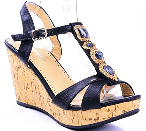 JJF Shoes Act Black Gem Jewel Rhinestone Dress T-Strap Platform Cork Wedge Heel Sandals-7