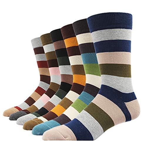 (SOXART Men's Dress Socks Striped 6 Pack Multi Color Cute Style (6 Pairs Wide Striped, L:US Shoe Size 8-12 / Sock Size 10-13))