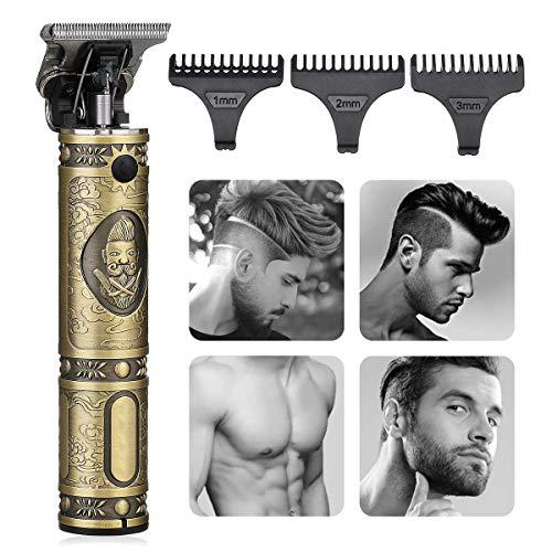 🥇 Cortapelos Hombre Profesional Eléctrica- GLAMADOR Recortadora de Barba Profesional para Hombres- Maquina Cortapelo Inalámbrica USB Recargable