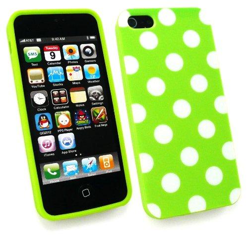 Emartbuy ® Apple Iphone 5 Protecteur D'Écran Lcd Et De Pois De Couverture De Gel De La Peau / Case Vert / Blanc