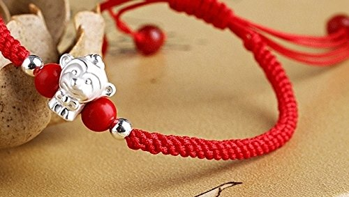 Generic The opening 999 fine silver transport bead red string bracelet couple bracelets Zodiac Year of the Rooster chicken monkey animal year gift