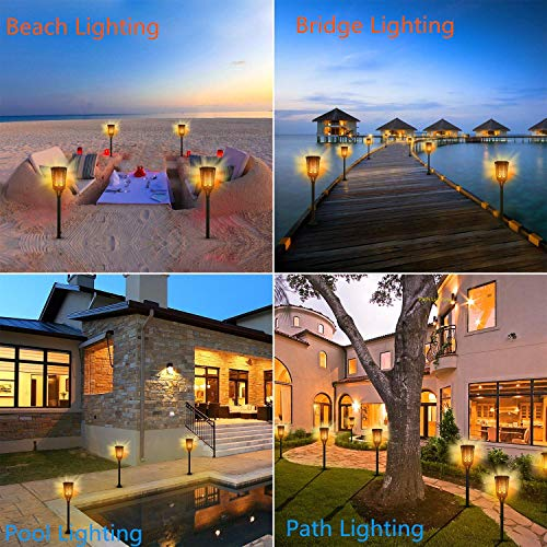 Sailnovo Solar Torch Light Flickering Flame Outdoor Dancing Flickering Flame Tiki Lights 4 Usage Modes 96 LED IP65 Waterproof Landscape Lighting Dusk to Dawn Auto On/Off Backyard Decoration 2 Pack by Sailnovo (Image #3)