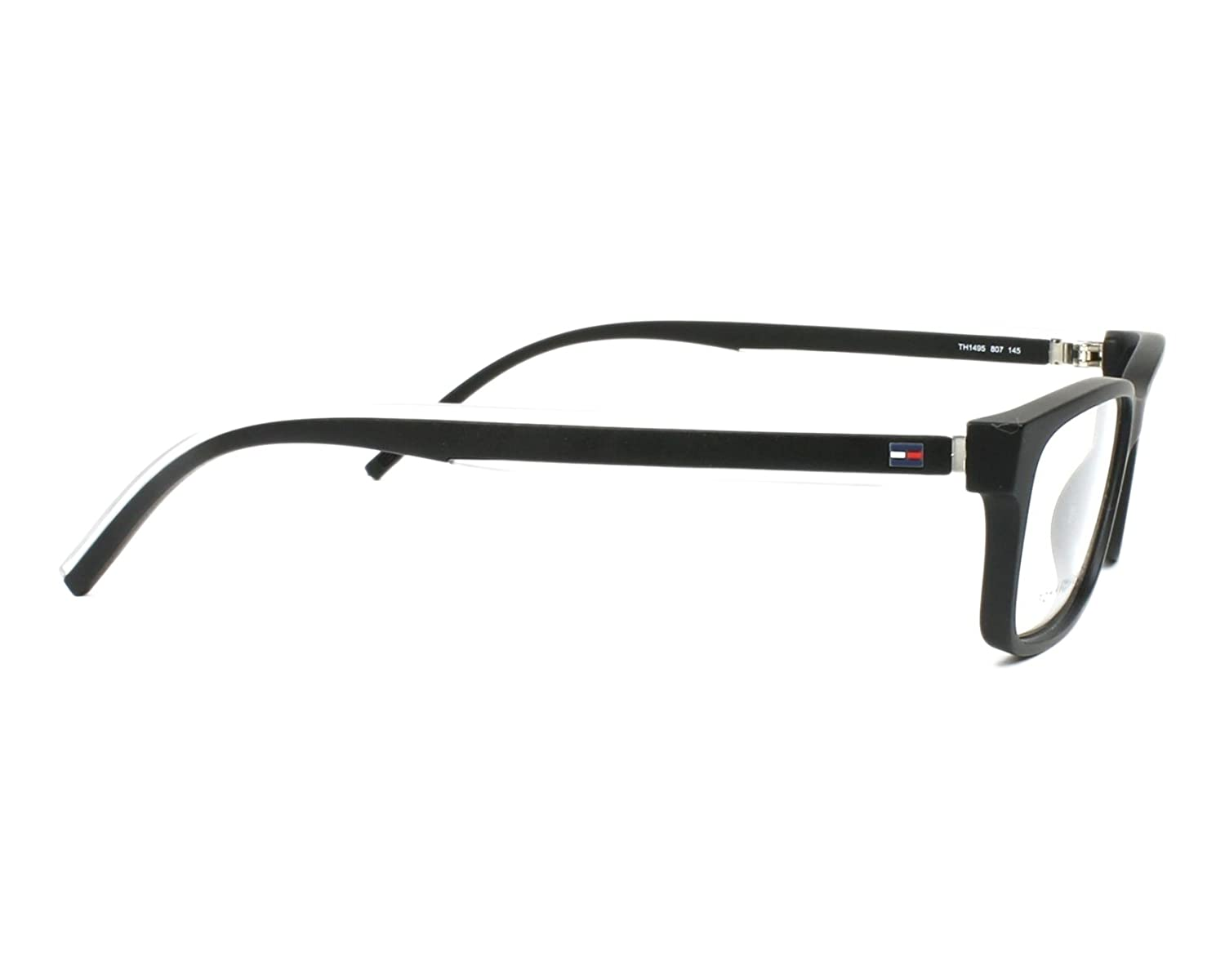9ee9137a2b5 Tommy Hilfiger frame (TH-1495 807) Acetate Matt Black - Transparent Crystal  at Amazon Men s Clothing store