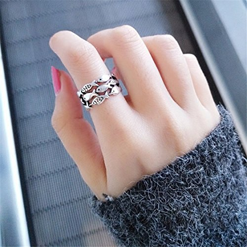 UNKE 1Pcs Retro Fish Hollow-out Opening Slightly Adjustable Ring Jewelry -