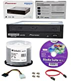 Pioneer 16x BDR-211UBK Internal Ultra HD Blu-ray BDXL Burner, Cyberlink Software and Cable Accessories Bundle with 50pk BD-R Verbatim 25GB 6X DataLifePlus White Inkjet, Hub Printable