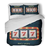 SanChic Duvet Cover Set Red Game Lucky Seven Jackpot on Slot Machine with Glowing Lamps Big Win for Online Casino Chance Decorative Bedding Set with 2 Pillow Shams King Size