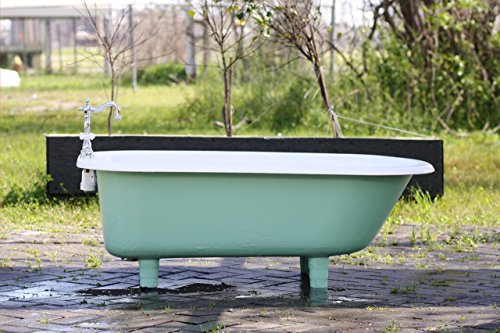 (4.5' Refinished Arsenic Green Clawfoot Bathtub 1941 Richmond Cast Iron Porcelain Cast Iron Bathtub Package New Faucet & Drain)