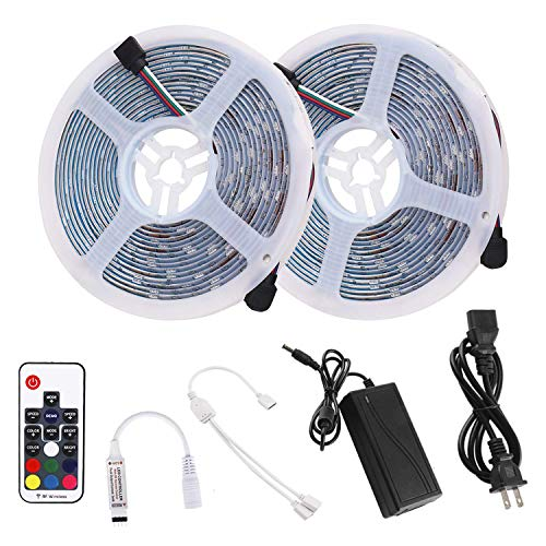 RC LED Strip Lights 32.8ft RGB Multicolor, High Sensibility 17Key RF Remote and Controller, IP65 Waterproof LED Light Strip SMD5050 300LEDs with 12V 5A Power Adapter for Kitchen Cabinet